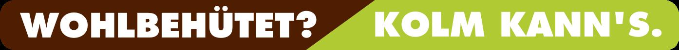 Schriftzug Wohlbehütet? Kolm kann's.   Holz Kolm in Tüßling